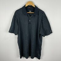 Nike Tiger Woods Golf Polo Shirt Mens XL Black Striped Short Sleeve Collared