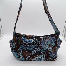 Vera Bradley Purse Java Blue Small Maggie Handbag Floral Brown Zipper