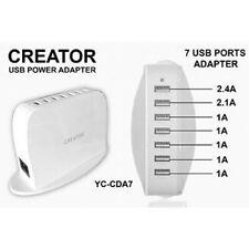 7 Port USB Desk Charger for Multiple Mobile Phones - iPads - Tablets