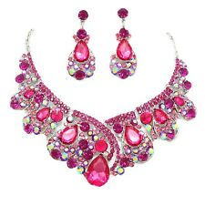USA  Hot Pink Bridal Formal Prom Necklace Set Elegant Wedding Jewelry 8380