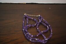 Three Strand Natural purple Amethist Stone 20 in clasp to clasp Necklace