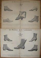 1892 Antique Lithographs - PARISIAN LADIES' BOOTS - Bally Shoes -Trade Catalogue