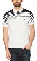 Original Penguin Mens Casual Cotton Stripe Gradient Polo Shirt Pique Top White