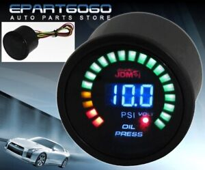 "2"" 52mm Oil Pressure JDM Volt Blue Digital Led Auto Gauge Meter Evo Wrx Eclipse"