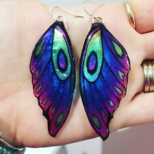 Butterfly Wing Earrings Rainbow - Sparkly Boho Fairy Jewellery unique gift Blue