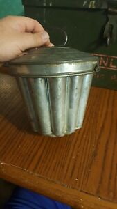 tin CAKE MOLD steamed pudding antique ware jello bundt metal lid germany antique