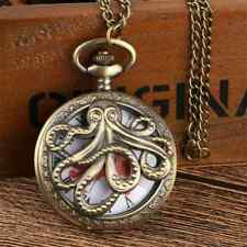 Bronze Hollow Out Octopus Roman Number Quartz Pocket Watch  with gift box