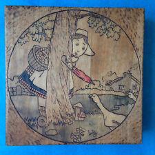 BECASSINE Boîte pyrogravure sur bois travail artisanal