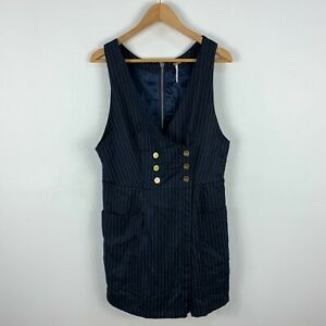 Free People Womens Romper Playsuit Size 12 Blue Striped Sleeveless V-Neck 57.15