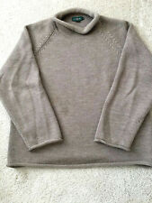 J CREW MENS ROLL NECK FISHERMAN SWEATER XL 100% WOOL TAN BEiGE BROWN -  VINTAGE 62ea967c0