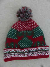 Red White & Green Knitted Bobble Christmas Hat