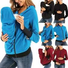 Maternity Lady Kangaroo Baby Carrier Fleece Hoodie Zip Babywearing Jacket Coat 5