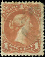 1868 Used Canada F+ Scott #22 1c Large Queen Issue Stamp