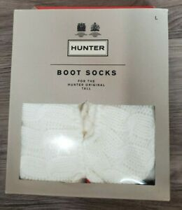Hunter Boot Socks Size L Original Tall Cable Knit Natural White