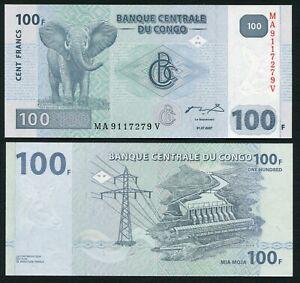 Congo DR 100 francs 2007.07.31. Elephant & D'Inga II Dam P98 HdM Print UNC