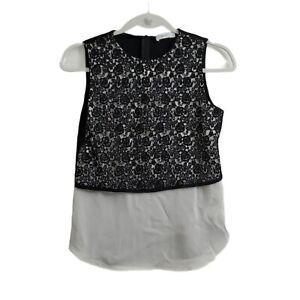 A.L.C Blouse 2 Bodylace Womens Silk Tank Top  Black/White