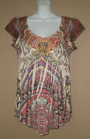 Womens Size Small Short Sleeve Summer Fashion Studded Floral Blouse Top Shirt