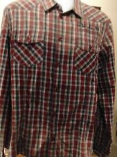 SILVER JEANS CO Faded distressed Plaid Men's Long Sleeve Shirt XL
