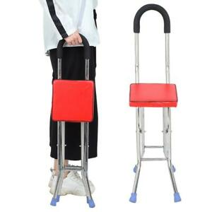 Portable Folding Cane W/ Seat Large Capacity Lightweight Crutch Chair Stool SAFE