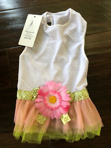 Sunflower Pet DOG Dress SMALL Girl Pink S Green Summer Wedding White Tulle NWT