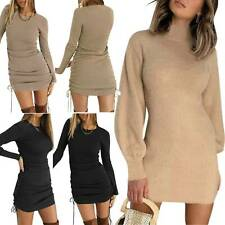 Women Bodycon Dress Long Sleeve Stretch Skinny Knit Plain Pullover Basic Dresses