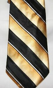 Croft & Barrow Mens Necktie Gold Black White Striped 100% Silk New