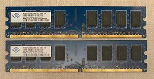 2X 2GB nanya (4GB) PC2-6400U (DDR2 800) desktop  NT2GT64U8HD0BY-AD - TESTED