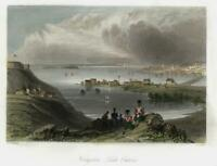 Kingston Lake Ontario fine c.1850 prospect city view with beautiful hand color