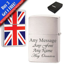 More details for personalised engraved brushed chrome union jack zippo, official zippo lighter