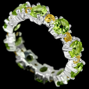 NATURAL AAA GREEN PERIDOT & YELLOW CITRINE STERLING 925 SILVER RING SIZE 7.75