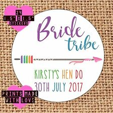 Personalised bride tribe tribe hen do night rainbow arrow 24 favours