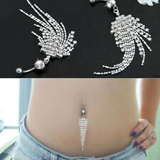 Silver Plated Crystal Tassel Dangle Navel Belly Button Ring Bar Pierci Cool