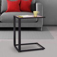 HOMCOM Sofa Snack Wooden Modern Coffee Side Table Laptop Holder C shape Overbed