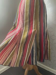 PER UNA Multicolour Stripe Cotton Floaty Kick Flare Skirt UK 14 Khaki Red M&S