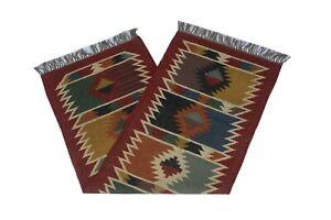 Handwoven Floor Kilim Rugs Jute Area Rug Runner Hand loomed Rustic Indian 2x6-18