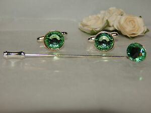 S/P Peridot/Light Green Cufflinks & Cravat/Stick Pin -Mens-Ladies-Wedding-Gifts