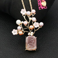 Betsey Johnson Resin Pearl Crystal Flower Vase Pendant Chain Necklace/Brooch Pin