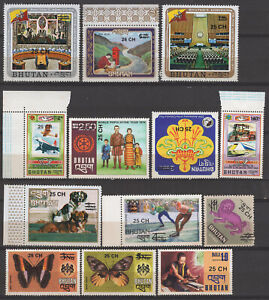 Bhutan SC# 252-269 Surcharged Stamp Complete 26Val Set.