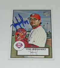 YOEL HERNANDEZ AUTO'D SIGNED 2007 TOPPS '52 RC CARD #83 PHILADELPHIA PHILLIES