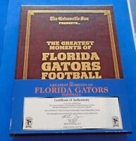 GREATEST MOMENTS OF FLORIDA GATORS FOOTBALL SIGNED LEATHER BOOK ~ 5 SIGS w. COA
