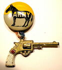 """WEST POINT ARMY PINBACK 2.25"""" METAL PISTOL SPORTS/SHOOTING 1950s PPD USA"""