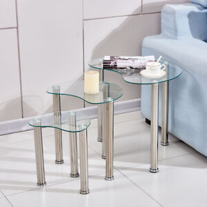 Clear Modern Glass Nest of 3 Tables Side End Corner Sofa Table Set Cara Coffee