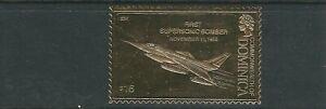 DOMINICA 1978 AVIATION 'FIRST SUPERSONIC BOMBER HUSTLER 1956' GOLD FOIL VF MNH