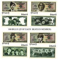 (Set of 100) McCartney  Lennon Ringo Harrison 25 Each of 4 Beatles Themed Notes