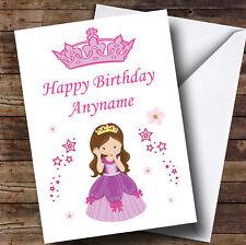 Brown Hair Princess Flowers Stars Personalised Children's Birthday Card