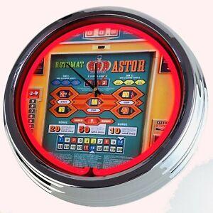 "N-0803 Wanduhr ""Geldspielautomat Astor Rotomat Wulff 1974"" Neonuhr Uhr Game Room"