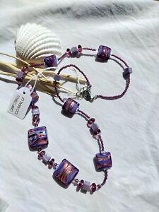 Antica Murrina Venezia Malu Murano Glass Purple Necklace