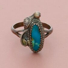 navajo sterling silver vintage braided turquoise ring size 4