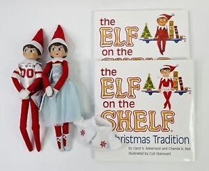 2015 Elf On The Shelf Boy & Girl Dolls, With Extra Outfits - Books Included