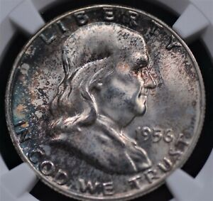 1956 FRANKLIN 50c NGC MS65 FULL BELL LINES SILVER SATIN SEAGREEN & LAVENDER RIMS